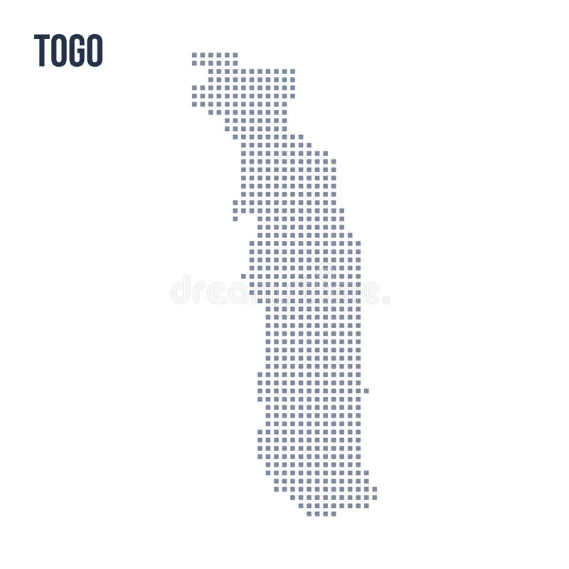 Wektorowa piksel mapa Togo odizolowywał na białym tle ilustracja wektor