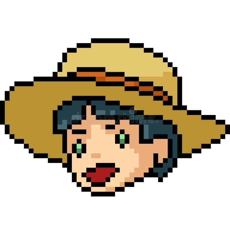 Wektorowa piksel sztuki chłopiec głowa royalty ilustracja