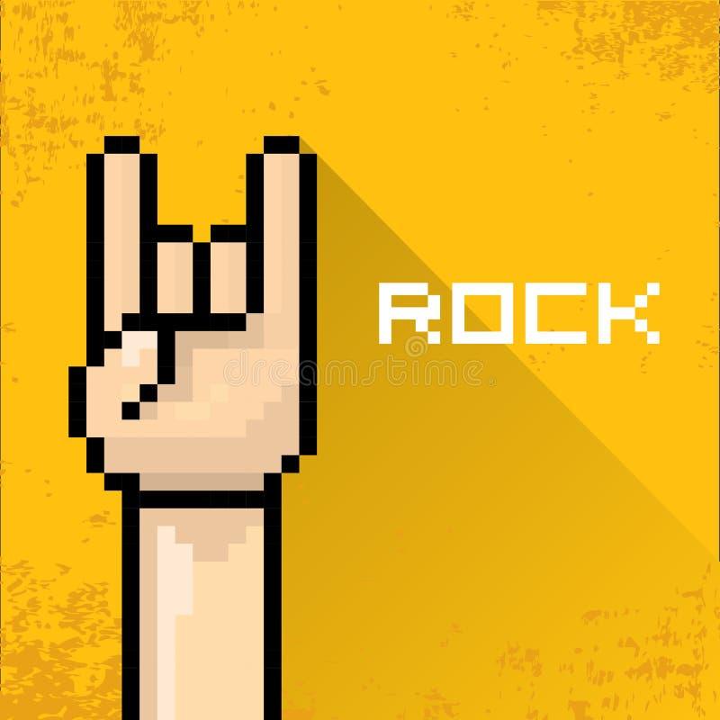 Wektorowa piksel sztuki ręki znaka skały n rolki muzyka royalty ilustracja