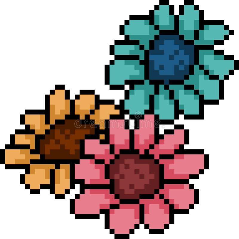 Wektorowa piksel sztuki słonecznika grupa ilustracja wektor