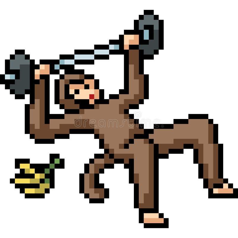 Wektorowa piksel sztuki sprawności fizycznej małpa ilustracji
