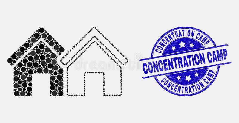 Wektorowa piksli domów ikona i Grunge Koncentracyjnego obozu foka royalty ilustracja