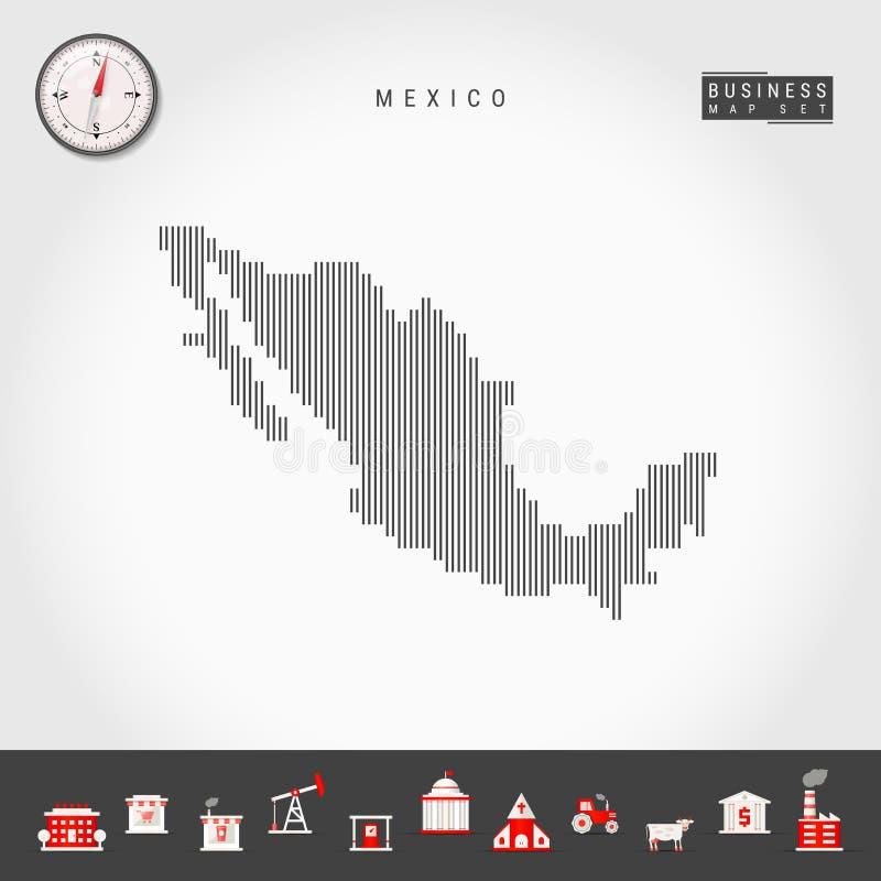 Wektorowa Pionowo linii mapa Meksyk Pasiasta sylwetka Meksyk Realistyczny kompas ai biznesu cs2 eps ikony zawieraj? ilustracji