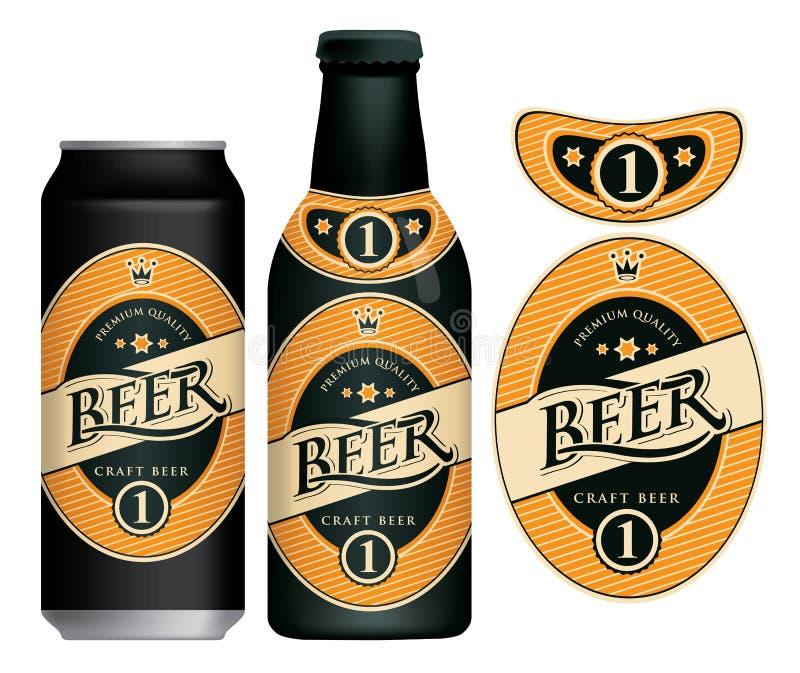 Wektorowa piwna etykietka na piwnej puszce i butelce royalty ilustracja