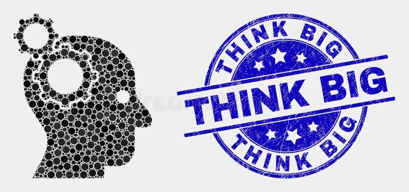 Wektorowa Pixelated głowy przekładni ikona i cierpienie myśli Duża Stemplowa foka royalty ilustracja