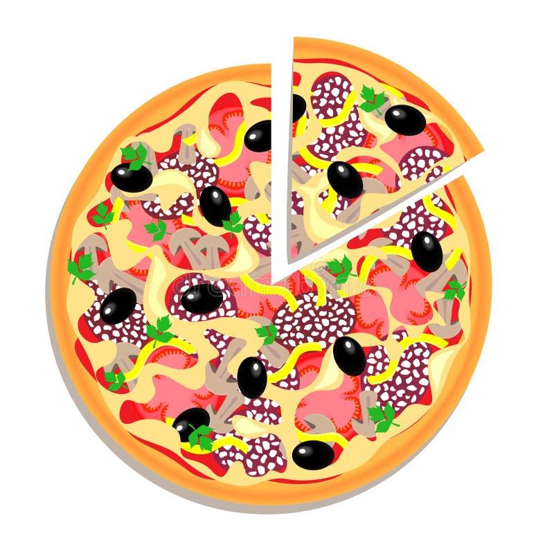Wektorowa pizza z pokrojonym kawałkiem odizolowywającym na bielu ilustracja wektor