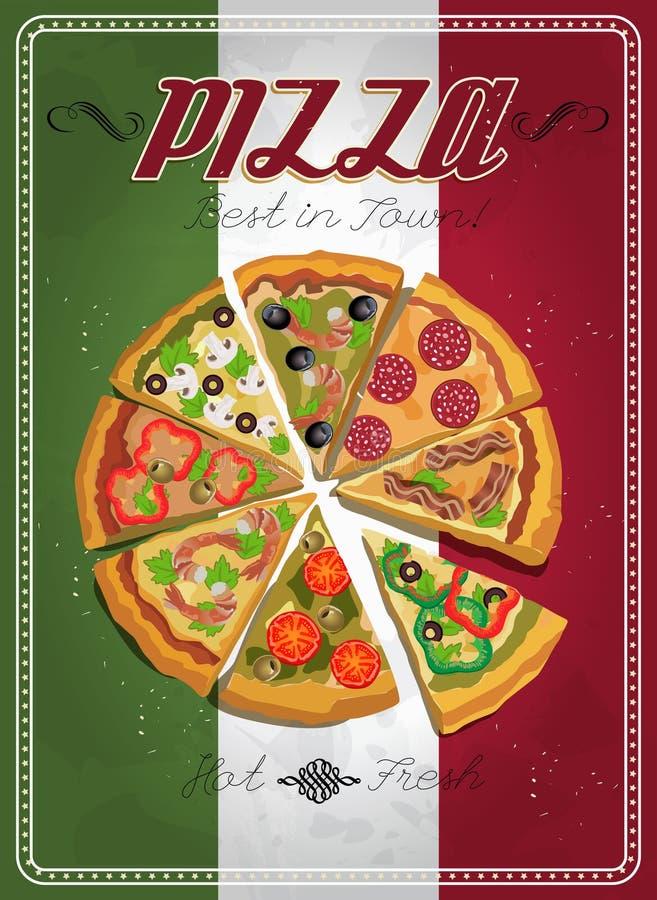 Wektorowa pizzy etykietka, plakat lub royalty ilustracja