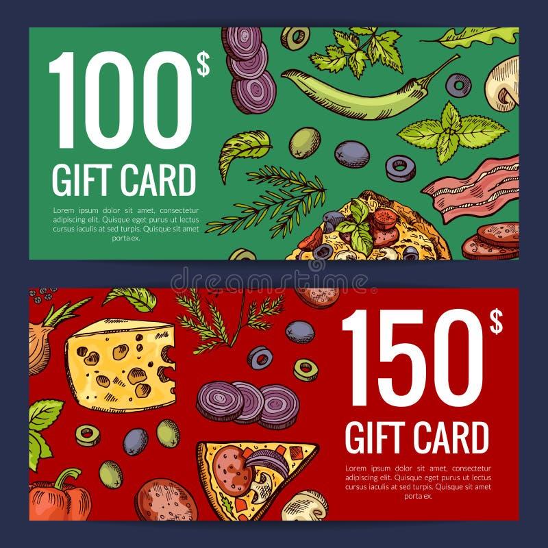 Wektorowa pizzy restauracja, sklepu rabat lub giftcard szablony lub royalty ilustracja