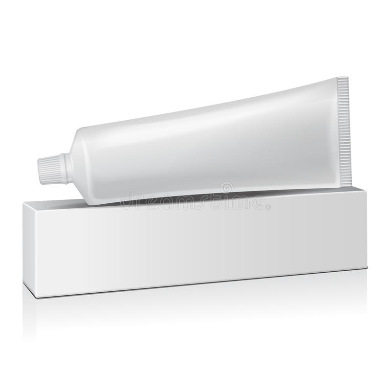 Wektorowa plastikowa tubka z białym pudełkiem dla medycyny lub kosmetyków - pasta do zębów, śmietanka, gel, skóry opieka Pakować  royalty ilustracja