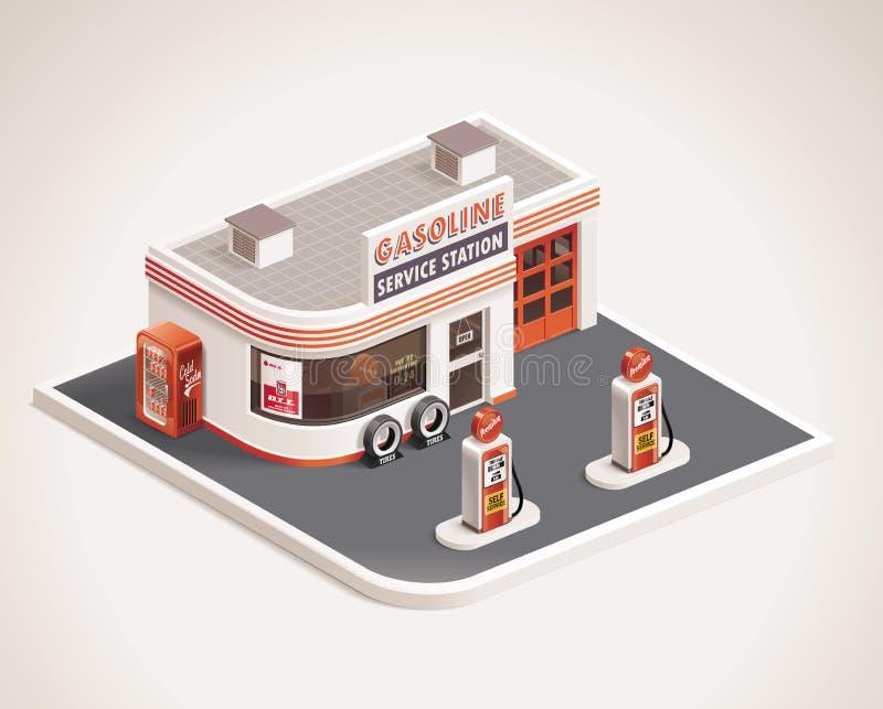 Wektorowa pobocza benzynowej staci XXL ikona ilustracja wektor