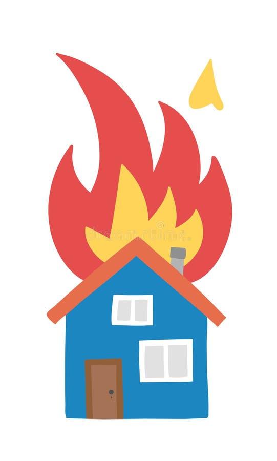 Wektorowa pociągany ręcznie ilustracja domu ogień, oddzielny dom na ogieniu ilustracja wektor