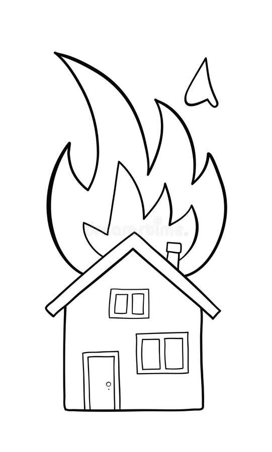 Wektorowa pociągany ręcznie ilustracja domu ogień, oddzielny dom na ogieniu ilustracji