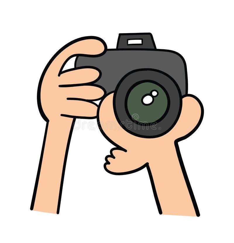 Wektorowa pociągany ręcznie ilustracja fotograf trzyma jego kamerę ilustracja wektor