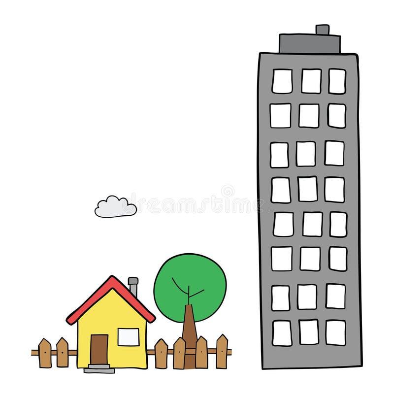 Wektorowa pociągany ręcznie ilustracja oddzielny dom z ogródu, drzewnego i wysokiego budynkiem, ilustracja wektor
