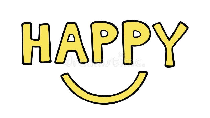 Wektorowa pociągany ręcznie ilustracja szczęśliwy słowo z uśmiechniętym usta ilustracja wektor