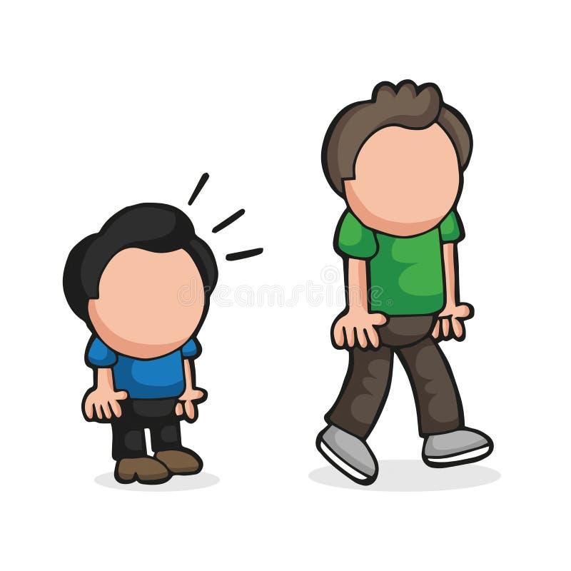 Wektorowa pociągany ręcznie kreskówka krótki mężczyzna pozazdroszczenia i spojrzenia wysoki mężczyzna ilustracja wektor