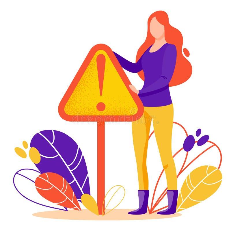 Wektorowa pojęcie ilustracja niebezpieczeństwo lub błąd podpisujemy wewnątrz mieszkanie styl ilustracja wektor