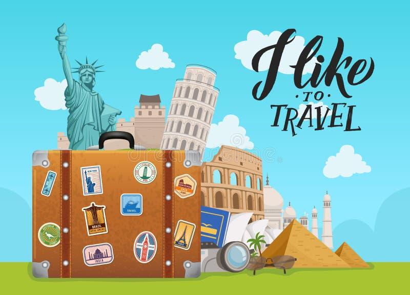 Wektorowa pojęcie ilustracja z widokami opuszcza od walizki na nieba tle z literowaniem na całym świecie ilustracji