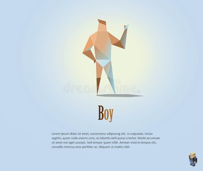 Wektorowa poligonalna ilustracja nagi mężczyzna, nowożytny niski poli- przedmiot, origami chłopiec stylowy charakter, ilustracja wektor