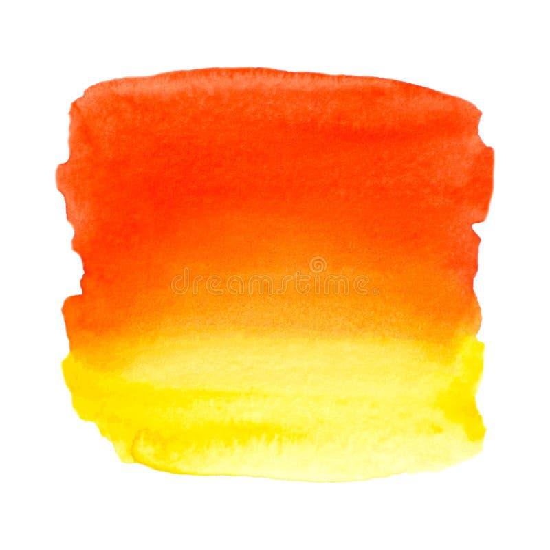Wektorowa pomarańcze i żółta farby tekstura odizolowywający na bielu - akwarela sztandar dla Twój projekta royalty ilustracja