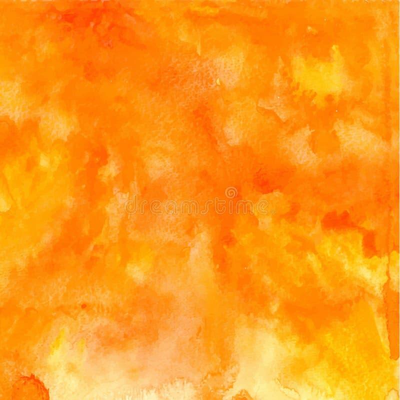 Wektorowa pomarańczowa abstrakcjonistyczna ręka rysujący akwareli tło royalty ilustracja