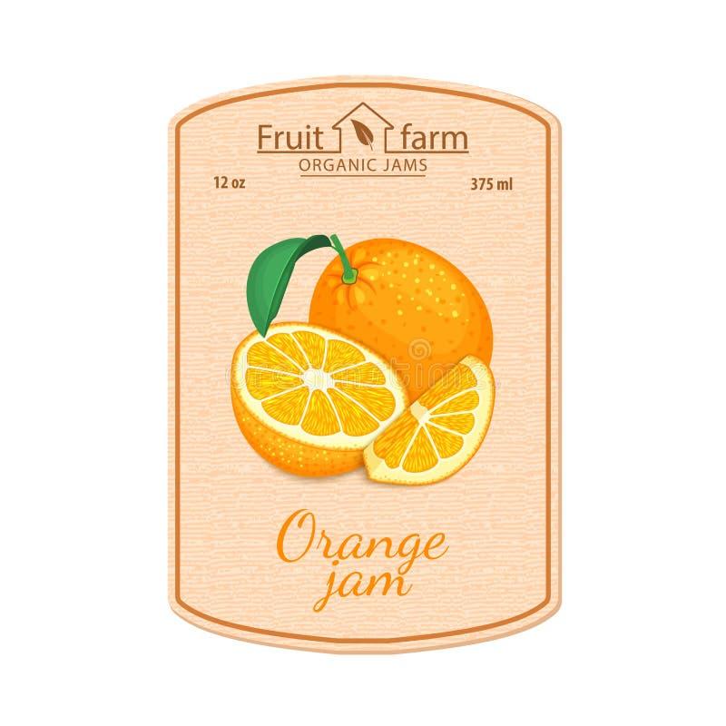 Wektorowa pomarańczowego dżemu etykietka Skład tropikalne pomarańczowe owoc Projekt majcher dla słoju z pomarańczowym dżemem, owo royalty ilustracja