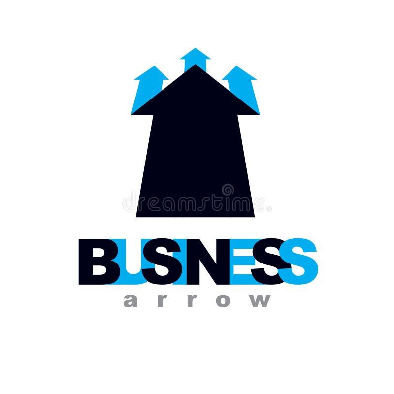 Wektorowa powstająca strzała Korporacyjny rozwoju logo odizolowywający na whi royalty ilustracja
