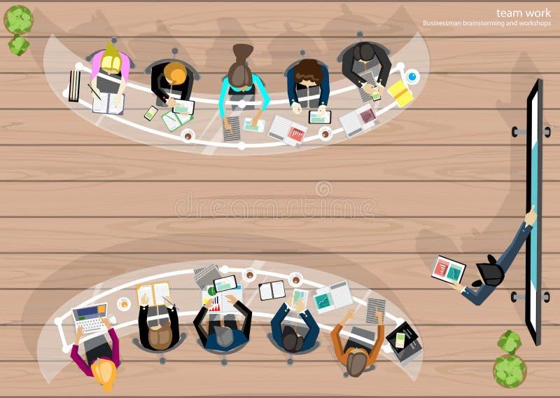 Wektorowa pracy przestrzeń dla biznesowych spotkań i brainstorming Analiza planu sieci i pojęcia sztandary media drukowani i wisz ilustracji