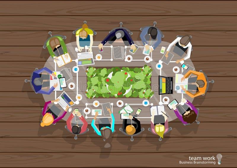 Wektorowa pracy przestrzeń dla biznesowych spotkań i brainstorming Analiza planu sieci i pojęcia sztandary media drukowani i wisz royalty ilustracja