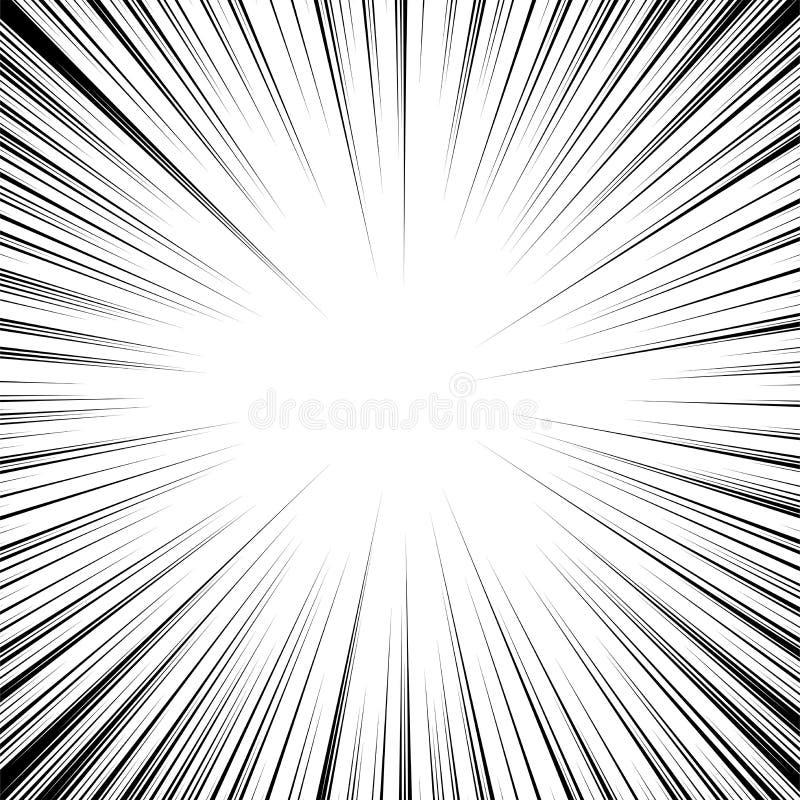 Wektorowa promieniowa prędkości kreskówka ruchu kreskowy tło ilustracji