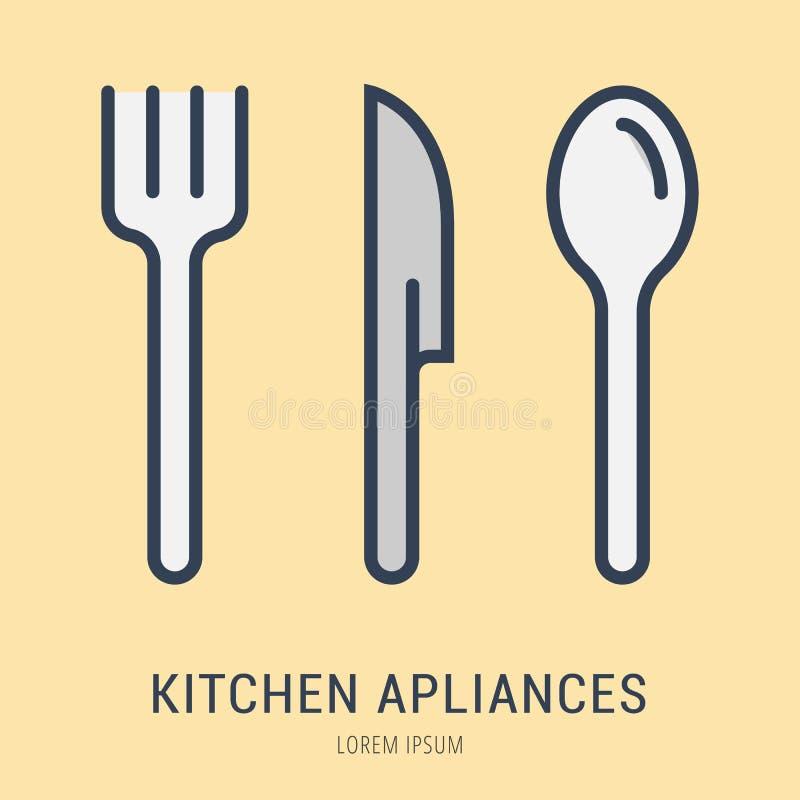 Wektorowa Prosta loga szablonu kuchnia Apliances ilustracja wektor