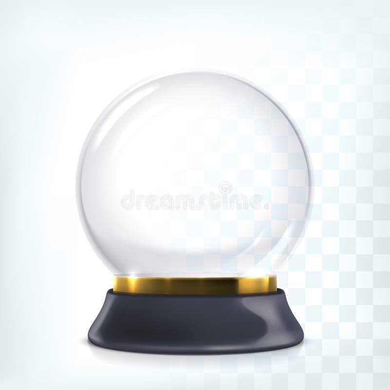 Wektorowa przejrzysta pusta śnieżna kula ziemska Bożenarodzeniowa kryształowa kula royalty ilustracja