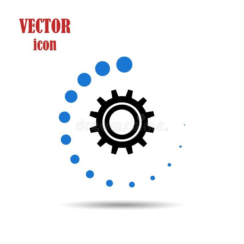 Wektorowa przekładnia, płaska ikona na odosobnionym białym tle, ładowniczy proces Podaniowa aktualizacja Praca machinalne części royalty ilustracja