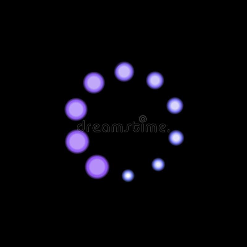 Wektorowa Purpurowa Błękitna ładowacz ikona, Neonowego światła Jaskrawy kolor, okręgu kształta Jarzyć się royalty ilustracja