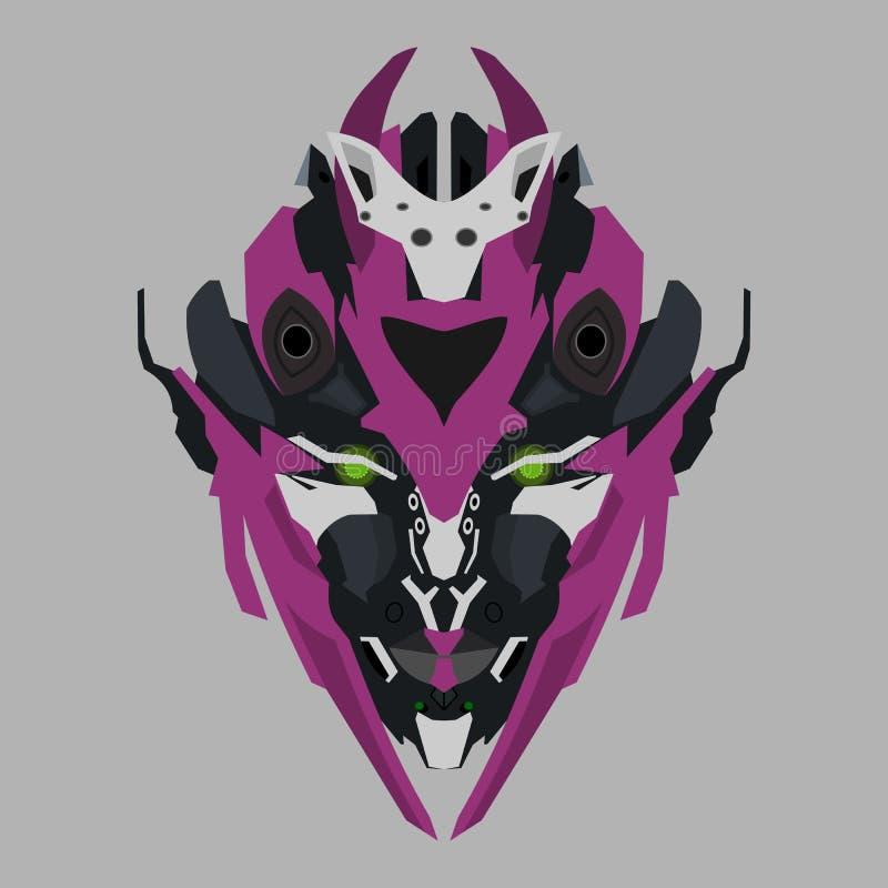 Wektorowa purpurowa robot głowa ilustracja wektor