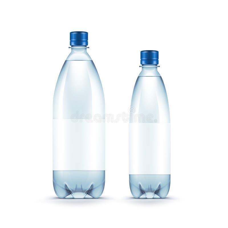 Wektorowa Pusta Plastikowa błękitne wody butelka Odizolowywająca royalty ilustracja