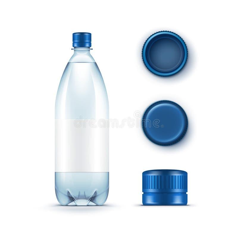 Wektorowa Pusta Plastikowa błękitne wody butelka z setem nakrętki na Białym tle royalty ilustracja
