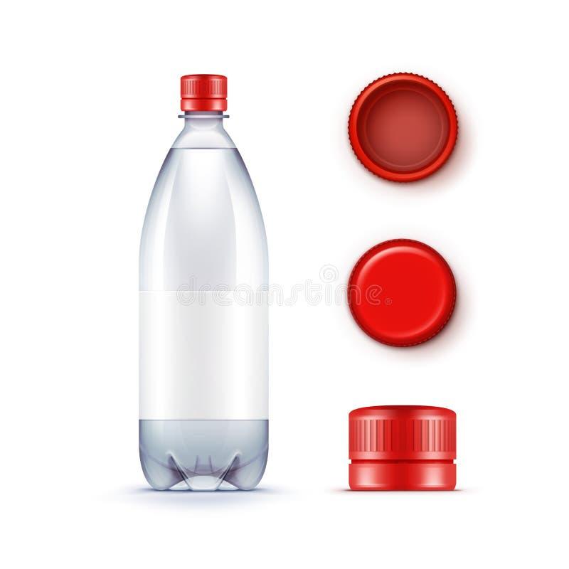 Wektorowa Pusta Plastikowa błękitne wody butelka z setem rewolucjonistek nakrętki Odizolowywać ilustracji