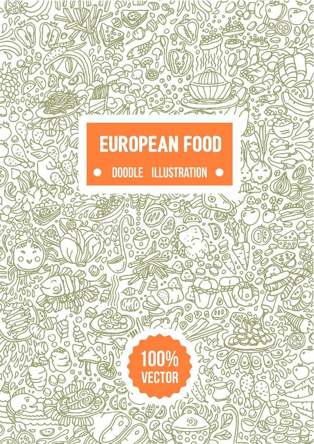 Wektorowa ręka rysująca ilustracja Europejska karmowa doodle ilustracja na białym tle ilustracji