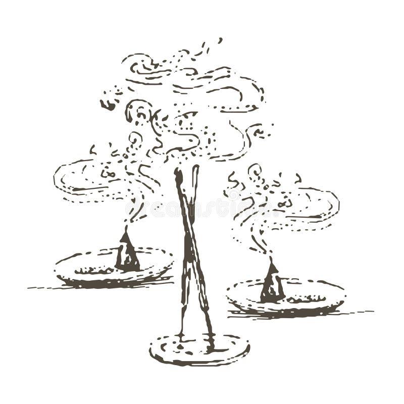 Wektorowa ręka rysująca ilustracja Kadzidłowa sylwetka ilustracja wektor