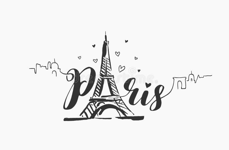 Wektorowa ręka rysująca ilustracja Paryska sławna budynek sylwetka na białym tle ilustracji