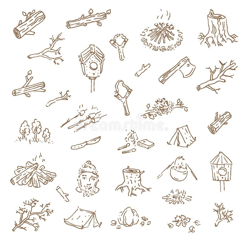 Wektorowa ręka rysujący nakreślenie campingowa ilustracja na wh ilustracji