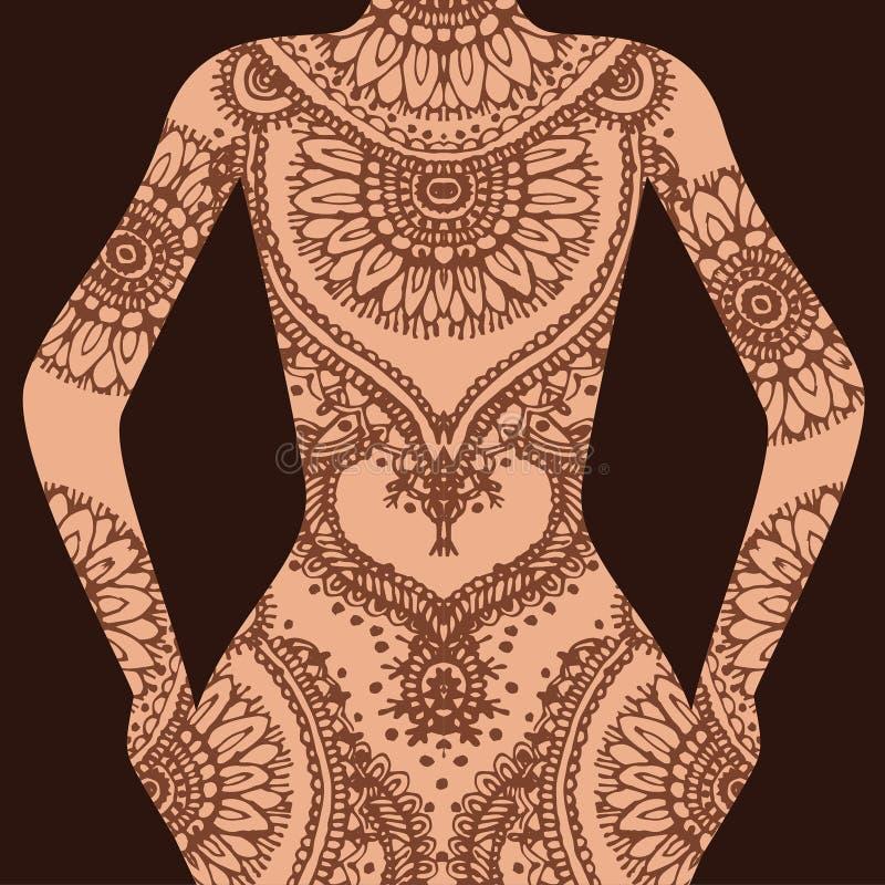 Wektorowa ręka rysujący nakreślenie henna wzoru ilustracja na ciele ludzkim ilustracja wektor