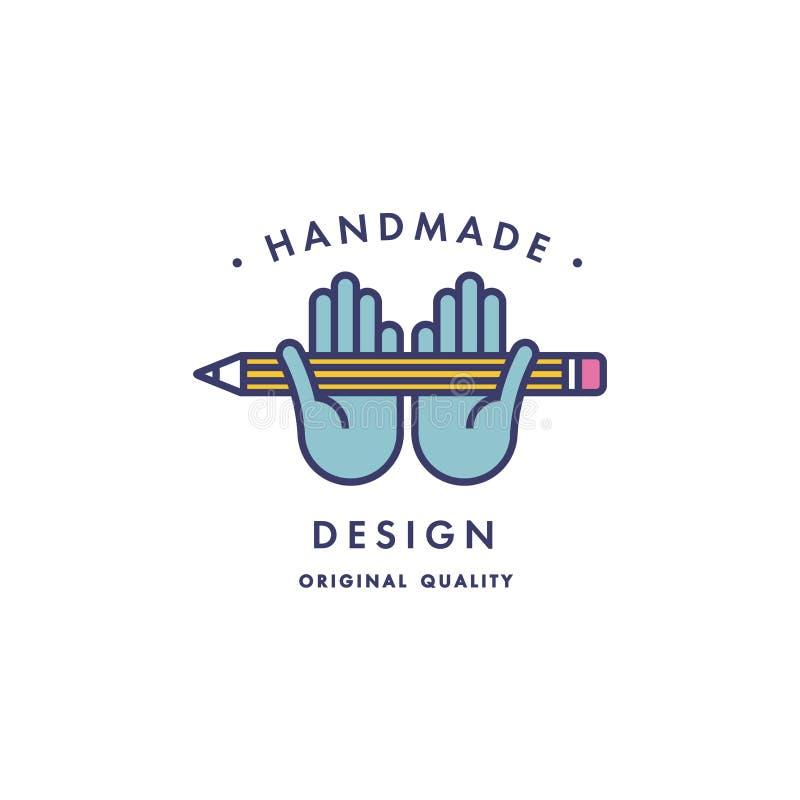 Wektorowa ręcznie robiony etykietka w konturu modnym stylu abstrakcjonistyczni projektów elementy - ręki z ołówkową ikoną i tekst ilustracji