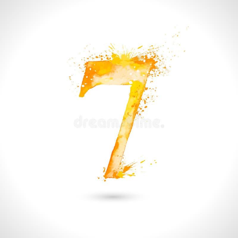 Wektorowa ręka malująca akwarela, pluśnięcie elementy projektuje, liczba 7 royalty ilustracja