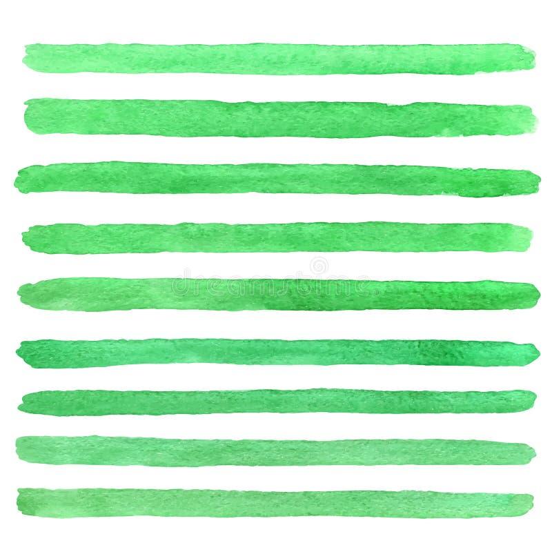 Wektorowa ręka malujący akwareli zieleni tekstury uderzenia royalty ilustracja
