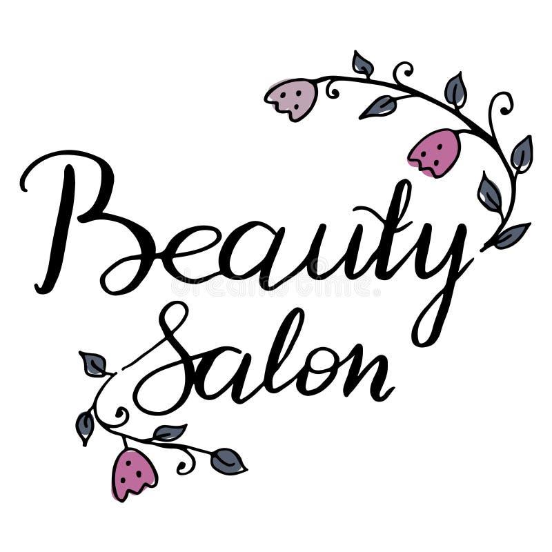 Wektorowa ręka pisać decals, etykietce, odznace lub emblemacie loga piękna salonu, Ozdabiający z malować roślinami i kwiatami któ obrazy royalty free