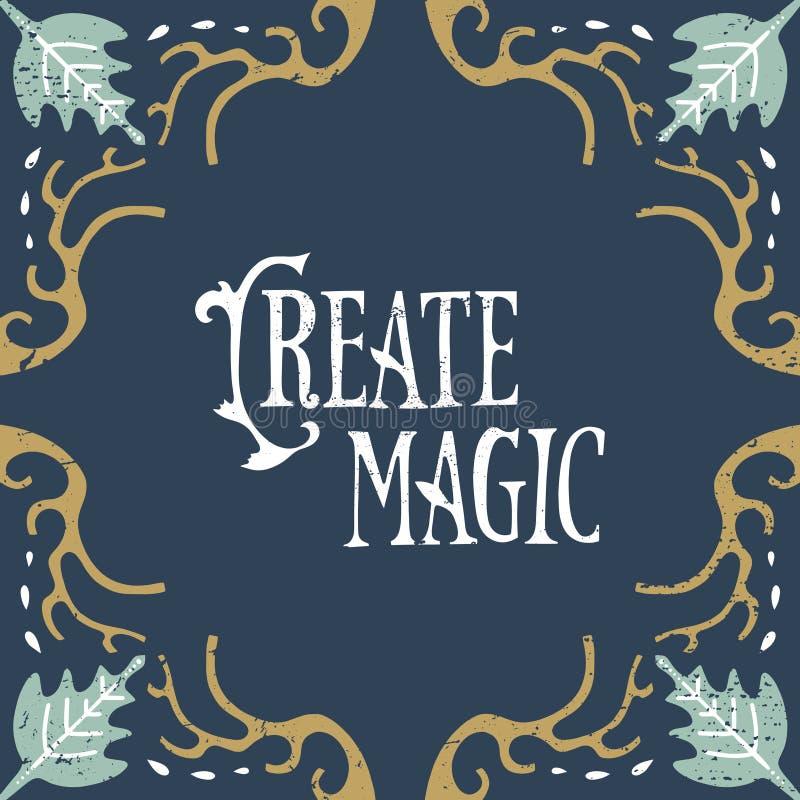 Wektorowa ręka pisząca list kaligraficzna rocznik pocztówka, kwiecista rama, sztuki współczesnej deco styl, podławy szyk ilustracja wektor