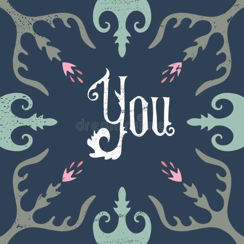 Wektorowa ręka pisząca list kaligraficzna rocznik pocztówka, kwiecista rama, sztuki współczesnej deco styl, podławy szyk ilustracji