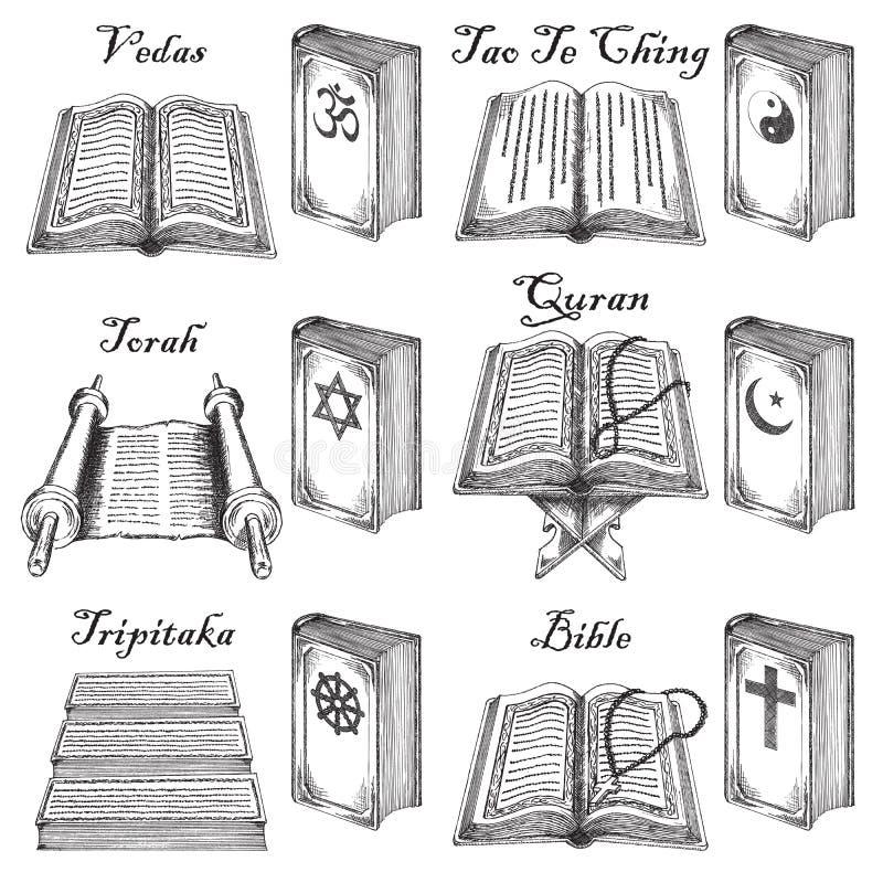 Wektorowa ręka rysować atrament religii stylowe światowe święte księgi ustawiać ilustracji